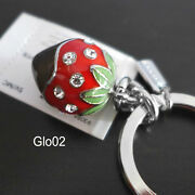 Nwt Coach 3d Chocolate Dip Strawberry Pave Crystal Key Chain Keyring Fob New