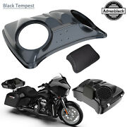 Black Tempest 8and039and039 Speaker Lids For Advanblack/harley Chopped Tour Pak Pack