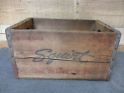 Vintage Squirt Soda Beverage Wood Advertising Crate Box Dated 12-40