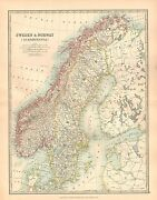 1911 Large Victorian Map Sweden And Norway Scandinavia Gothland Svealand