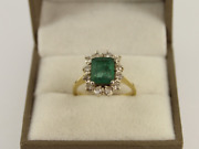 Diamond And Emerald Halo Ring 18ct Gold Ladies Size N 750 5.1g Ic84