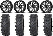 Fuel Reaction 20 Wheels Black 35 Outback Maxand039d Tires Polaris Rzr Turbo S / Rs1