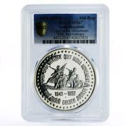 India 100 Rupees 50th Anniversary Of Quit Movement Ms67 Pcgs Silver Coin 1992