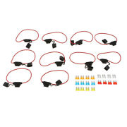 10x Inline 14awg Blade Atm Medium Fuse Holder And 20x Fuses Set For Boat Car