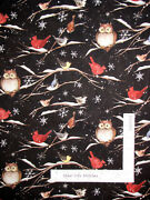 Christmas Holiday Bird Branch Owl Cardinal Cotton Fabric Cp72497 By The Yard