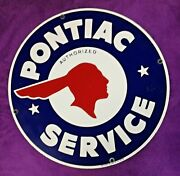 1987 Pontiac Service Enamel Sign - By Ande Rooney - New Old Stock