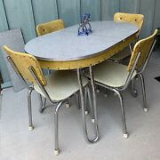 Atomic Vintage 50's Chrome And Yellow Vinyl Kitchen Dining Table And Chairs Set