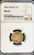 1857 Flying Eagle Cent Certified By Ngc Mint State 62 Strong Strike Detail Ms 62