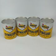 Sunoco Dynalube Sae 10w Hd 1 Quart Oil Can Lot - Part Full Vintage 1960 Usa 13