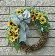 15 Yellow Sunflower Country Blue Floral Summer Grapevine Door Wreath