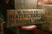 19thc Horse And Wagon Tin Roofing And Spouting Heaters Ranges Antique Brass Sign