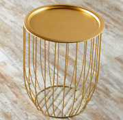 Storage Accent Table Open Metal Wire Design Removable Tray Lid Access Gold Color