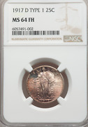 1917-d Standing Liberty Quarter Type 1 Ngc Ms64fh Full Head Lustrous Copper Tone