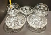 Vtg 1940andrsquos Anchor Hocking Star Of David 7 Candy Nut Dishes Bowls W/ Or W/o Feet