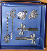 Vintage Rare Bentley Silver Plated 6 Pc Claw Clips Pins Hair Set Dressy Gift