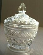 Vintage Collectible Diamond Cut Glass Crystal Fancy Sugar Bowl Candy Dish