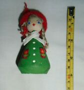 Vintage Collectible Swedish Girl Doll Wooden Braids Scarf Christmas Ornament