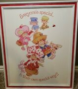 Vtg1980'sstrawberry Shortcake Framed Picture's 18x22. And Two 10x12