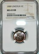 1909-p U.s 1 Cent Lincoln Cent Vdb Ngc Ms 65 Rb Gorgeous Luster Nice Color Toned