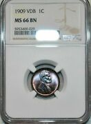 1909-p U.s 1 Cent Lincoln Cent Vdb Ngc Ms 66 Bn Remarkable Nice Toned High Grade