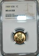 1909-p U.s 1 Cent Lincoln Cent Vdb Ngc Ms64 Rb Vibrant Coloring Beautiful Choice