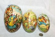 Vintage Paper Mache Easter Eggs, Set Of 3 Nested, Bunny Pictures, Germany Mint