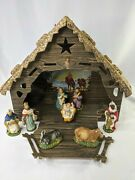 Vintage Christmas Nativity Set Figures Animals Manger Stable Italy