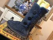 Ugg Women's Bailey Triplet Button Navy Blue Boots Size 7 S/n 1873