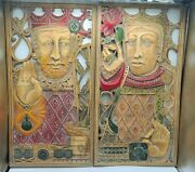 Rare Syracuse Ornamental Syroco Wood King And Queen Plaques