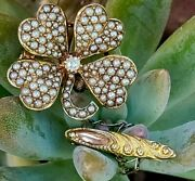 Antique Solid 14k Gold Seed Pearl Shamrock Clover Brooch Pin Estate Jewelry 5.4g