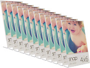 Snap Clear Acrylic Self Standing Photo, Set Of 12 Picture Frame Set, 4 X 6, 12