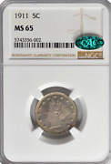 1911 Liberty Nickel Ngc Ms65, Cac Attractive, Lustrous Fields