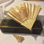 Antique Hand Painted Silk Fan With Box Signed A. Lauronce Pierced Ivory Sticks