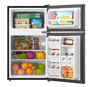 New 3.2 Cu Ft Two Door Compact Refrigerator With Freezer Stainless Steel