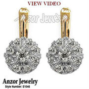 Russian Style 14k Solid Rose And White Gold Genuine Diamond Earrings 1.78 Cwt Fsi2