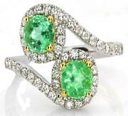 1.71ct Diamond And Aaa Emerald 18kt 2 Tone Gold Oval Criss Cross Flower Love Ring