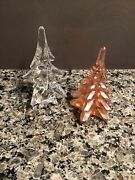 Vintage Art Glass Christmas Tree Figurines, Clear And Carnival Glass