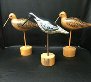 Superb Vintage Hand Carved And Painted Wooden Birds Figure Statue On Sticks