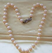 Vintage Jewelry Natural South Sea Pearl Necklace 18k Gold Natural Diamonds