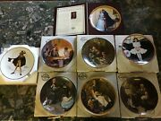 Set Of 8 New Norman Rockwell Various Series Decorative Plates W/ Certificates