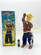 Rodeo Cowboy 1950s Jpn Vintage Original Wind Up Tin Toy With Box