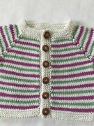 Hand Knit Cotton Washable Baby Sweater - Purple Owl Buttons