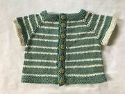 Hand Knit Cotton Washable Baby Sweater - Aqua Owl Buttons