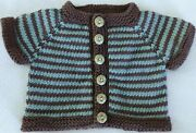 Hand Knit Cotton Washable Baby Sweater - Green Owl Buttons