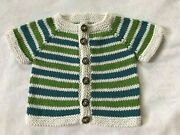 Hand Knit Cotton Washable Baby Sweater - Adorable Navy Owl Buttons