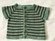 Hand Knit Cotton Washable Baby Sweater - Adorable Owl Buttons
