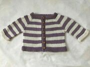Hand Knit Cotton Washable Baby Sweater - Long Sleeves - Adorable Owl Buttons