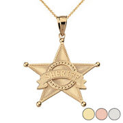 14k Solid Gold Star Sheriff Badge Public Safety Textured Pendant Necklace