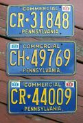 Vintage Lot 3 License Plates 1970and039s - Pennsylvania Pa Commercial Truck Big Rig