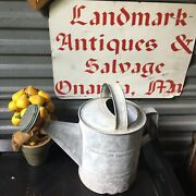 Vintage Galvanized Small Watering Can With Red Sprinkler Head Holds Water